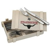 WMF Steakbesteck 12-teilig für 6 Personen in Holzkiste Cromargan Edelstahl rostfrei18/10 poliert - 1