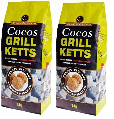 6kg Cocos Grill Briketts Premium Holzkohle Grillkohle aus Kokosnuss – ökologisch
