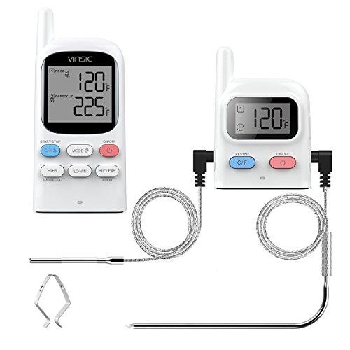 Grill thermometer,Vinsic®Fleischthermometer 2 Fühler 100m Fernbedienung Entfernung wiederaufladbarer BBQ Thermometer, Raucher, Grill, Ofen, Funkthermometer Grill-Weiß