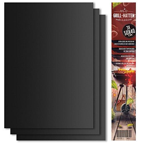 Grillmatte (3er Set) zum Grillen und Backen | aus Silikon mit Teflon Antihaftbeschichtung für bis 300°C | extra Groß und langlebig | 0.3 mm dick – 40×50 cm | ideal für Gas – Kohle – E-Grill und Backofen geeignet | LFGB und FDA Zulassung .