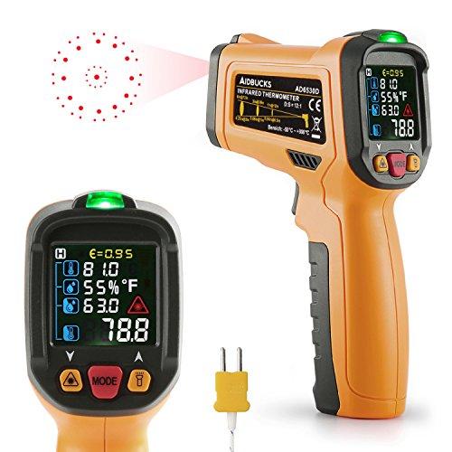 Infrarot Thermometer Janisa AD6530D ir Laser Digital Thermometer kontaktfreies mit Farbe lcd 12-Punkte-Laserkreis Farbbildschirm Alarmfunktion bei Über/Unterschreitung der Temperatur -50℃ bis 800℃