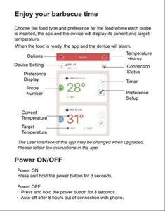 Inkbird Bluetooth 4.0 Barbecue Backofen Grillthermometer BBQ Bratenthermometer Fleisch Küche Thermometer Timer mit Temperaturalarm + Edelstahl Lange Temperaturfühler, App für Android 4.4 + top & iOS 7+ (Inkbird IBT-2X+2 Temperaturfühler) - 5